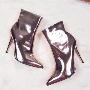 eb274c948a9 Shoes - Rose gold metallic booties NWOB